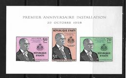 HAITI 1958 BLOC DUVALIER NON DENTELE  YVERT N°B  NEUF MNH** - Haiti