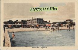 Emilia Romagna-rimini-riccione Veduta Da Mare Animatissima Particolare Veduta Spiaggia Anni 30 - Autres Villes