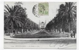 (RECTO / VERSO) MONTE CARLO - N° 1044 - LE CASINO AVEC PERSONNAGES - TIMBRE ET CACHET DE MONACO - CPA VOYAGEE - Casino