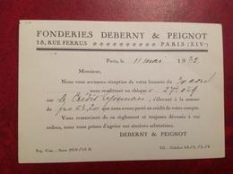 Carte Postale Privée Paris XIVe Fonderies Deberny Peignot & - Arrondissement: 14