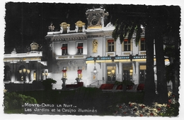(RECTO / VERSO) MONTE CARLO LA NUIT EN 1954 - LES JARDINS ET CASINO  - TIMBRE ET FLAMME DE MONACO - FORMAT CPA VOYAGEE - Spielbank