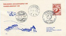 Greenland Postcard To Denmark 1970 Jakobshavn Dog Sled Post - Greenland