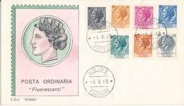 Italy FDC Definitives Fluorescenti Set Of 7 Stamps 6-5-1968 With Cachet - 1946-.. République