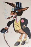 Cpa Illustrateur XAVIER SAGER ÂNE Habillé En DANDY TU RESTES UN ANE,  Dressed DONKEY , CIGAR, HAT  A/s - Sager, Xavier