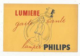 Buvard LUMIERE , Gaité , Santé , Lampes PHILIPS ,petite Fille , Frais Fr 1.45 E - Carte Assorbenti