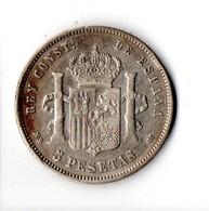 ESPAGNE . ESPAÑA . 5 PESETAS 1884 . ALFONSO XII . ARGENT - Réf. N°55B - - Collezioni