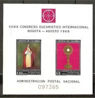 1968 Colombia, Bogotà CONGRESSO EUCARISTICO Foglietto 097385 MNH** Souv.sheet - Colombia