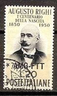 1950 Italia Italy Trieste A  AUGUSTO RIGHI Serie Usata USED - Fisica