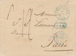 """ZZ426 -- Lettre Précurseur BRUXELLES 1839 Vers PARIS - """" L'ESTAFETTE De Paris N'était Pas Arrivée à 4 Heures """" - 1830-1849 (Belgique Indépendante)"""