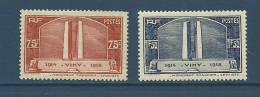 "FR YT 316 & 317 "" Monument De Vimy "" 1936 Neuf** - France"