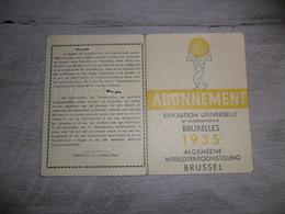 Carte D' Entrée - Exposition Universelle Et Internationale Bruxelles 1935 - Abonnement - Tickets - Vouchers