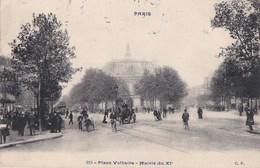 PARIS XI Série CP N° 915  Place VOLTAIRE Animée MAIRIE Angle Bd VOLTAIRE Avenue PARMENTIER Timbre 1909 - District 11