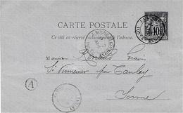 1879- C P E P 10 C Sage Oblit. De LA ROCHE-St CIDROINE ( Yonne )  + Boite Rurale De CHENY - Marcophilie (Lettres)