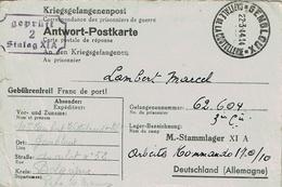 Antwort-Postkarte De GEMBLOUX-Capitale De La Coutellerie Du 22-3-44 à LAMBERT Marcel - STALAG XI A Kdo 170/10 + Censure - Guerre 40-45