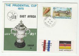 1975 KENYA CRICKET COVER The PRUDENTIAL CUP EVENT Franked Kenya Shell ,  LION Stamps Sport - Kenya (1963-...)