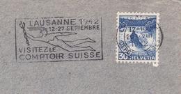 Lettre Suisse Lausanne1942 Helvetia Flamme Lausanne 1942 Hermès Mercure Visitez Le Comptoir Suisse - Suiza