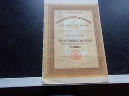 LIBRAIRIE DE LA CONSTRUCTION MODERNE (1926) - Shareholdings