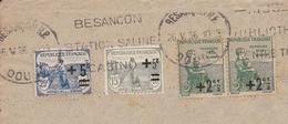 Lettre 1936 Besançon Doubs Orphelins De La Guerre Pour Grenoble Isère - Postmark Collection (Covers)