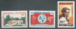 Madagascar YT N°405-406-407 Journée Du Timbre 1965 - U.I.T. - Poète Jean-Joseph Rabearivelo Neuf ** - Madagascar (1960-...)
