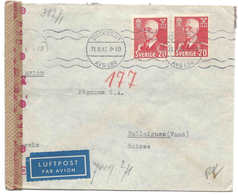 SUÈDE - SUISSE, 31 VIII 1943 Cover Lettre Censure B (Berlin) Zensur Censor, Poste Aérienne Luftpost Air Mail Switzerland - Covers & Documents