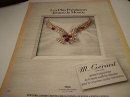 ANCIENNE PUBLICITE JOAILLIER M GERARD 1980 - Jewels & Clocks