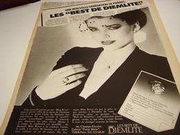 ANCIENNE PUBLICITE LES BEST DE DIEMLITE 1980 - Bijoux & Horlogerie