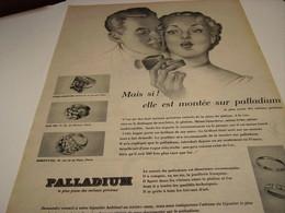 ANCIENNE AFFICHE  PUBLICITE JOAILLERIE PALLADIUM 1953 - Jewels & Clocks