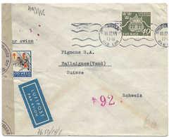 SUÈDE - SUISSE, 10 XII 1944,  Cover  Lettre Censure Berlin, Tuberculosis Vignette GOD HELG Chemical Censorship. - Zweden