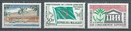 Madagascar YT N°369-370-371 Journée Du Timbre 1962 - Union Africaine Et Malgache - UNESCO Neuf ** (Voir Description) - Madagascar (1960-...)