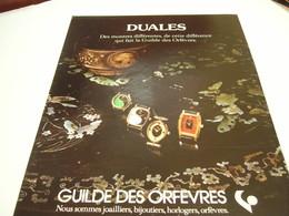 ANCIENNE AFFICHE  PUBLICITE MONTRE DUALE 1978 - Bijoux & Horlogerie