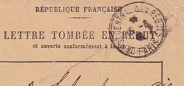 Lettre Tombée En Rebut Cachet Dépot Central Des Rebuts Paris 1941 Roubaix Nord - 1921-1960: Modern Period