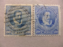 CHILE 1901 PEDRO De VALDIVIA Yvert 14 FU Dentado 15 + Yvert 15 FU Dentado 12 - Chile