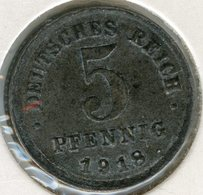 Allemagne Germany 5 Pfennig 1918 F J 297 KM 19 - [ 2] 1871-1918 : German Empire