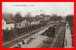 CPA (71) PARAY-le-MONIAL.  La Gare, Animé, Train...H1066 - Stations With Trains