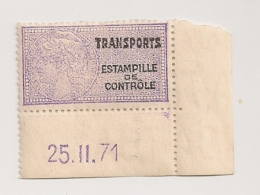 TIMBRE FISCAL DATE TRANSPORTS ESTAMPILLE DE CONTROLE   CPA1701 - Fiscaux