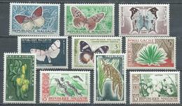 Madagascar YT N°341/350 Papillons Et Cultures Neuf ** (Voir Description) - Madagascar (1960-...)