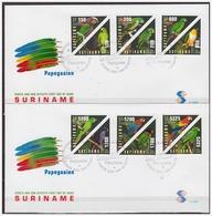 Surinam / Suriname 2002 FDC 258ab Papegaaien Parrots Papagei Papegai Triangle - Suriname