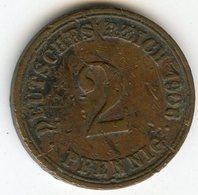 Allemagne Germany 2 Pfennig 1906 A J 11 KM 16 - [ 2] 1871-1918 : German Empire