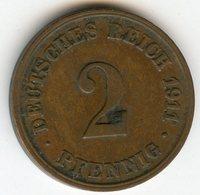 Allemagne Germany 2 Pfennig 1911 J J 11 KM 16 - [ 2] 1871-1918 : German Empire