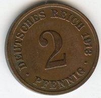 Allemagne Germany 2 Pfennig 1913 D J 11 KM 16 - [ 2] 1871-1918 : German Empire