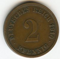 Allemagne Germany 2 Pfennig 1910 G J 11 KM 16 - [ 2] 1871-1918 : German Empire