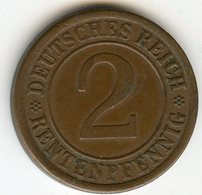 Allemagne Germany 2 Rentenpfennig 1923 A J 307 KM 31 - 2 Rentenpfennig & 2 Reichspfennig