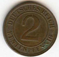Allemagne Germany 2 Rentenpfennig 1923 G J 307 KM 31 - 2 Rentenpfennig & 2 Reichspfennig
