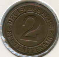 Allemagne Germany 2 Rentenpfennig 1924 G J 307 KM 31 - 2 Rentenpfennig & 2 Reichspfennig