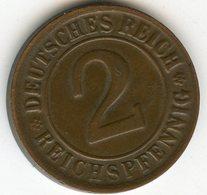 Allemagne Germany 2 Reichspfennig 1924 J J 314 KM 38 - 2 Rentenpfennig & 2 Reichspfennig