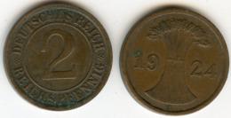 Allemagne Germany 2 Reichspfennig 1924 A J 314 KM 38 - [ 3] 1918-1933 : Repubblica Di Weimar