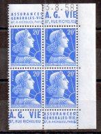 20 Vfra Ncs Marianne De Muller. Bande Publicitaire A.G.Vie + A.G.Vie. 4 Timbres**. (Alb655) - 1955- Marianne De Muller