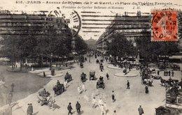 CPA PARIS - AVENUE DE L'OPERA ET PLACE DU THEATRE FRANCAIS - FONTAINE DE CARRIER BELLEUSE ET MOREAU - Unclassified