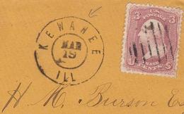 Lettre USA Kewanee Illinois Rockford Stamp Washington 3c H. M. Burson - 1847-99 Algemene Uitgaves