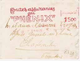 France, Sur Format 8,7 X 6,5 Cm  En 1951,  Machine G  Assurances Phénix - Poststempel (Briefe)